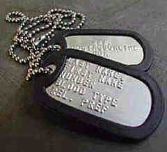 Two military dog tags with neck chain 1e35ee69e5b